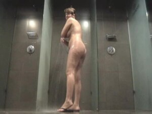Gal is alone in shower getting nude body on spy