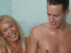 Stepson receives massage by his stepmom and her