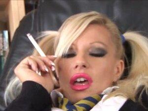 Smoking schoolgirl slut left with cum on her