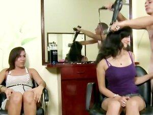 Amateur girls suck CFNM hairdresser