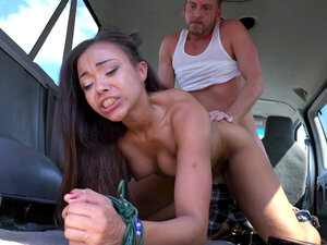 Adriana Maya with her hands bound gets slammed