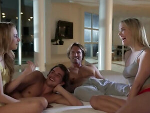 Group sex with blondes and strong men enjoy sex