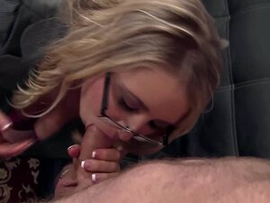 Blonde cutie Cassie fucked on a couch in thigh