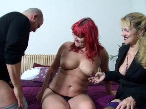 German Redhead Mature Wife at First FFM Threesome