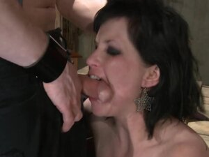 Chubby wife in fishnet stockings fucked in mouth