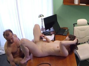Doctor fucks chubby patient on a desk in fake