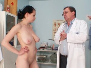 Teen undresses for gyno exam