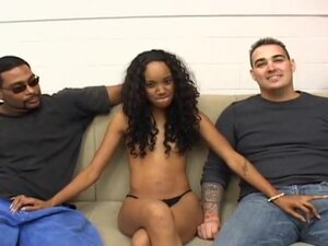 Petite Black Beauty in Interracial 3some, Kapri