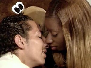 Lovely black chick moans while fucking in