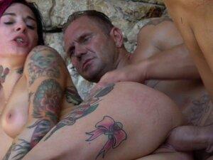 Tattooed punk slut anally fucked outdoors