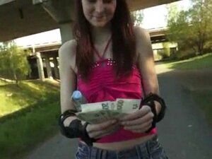 Roller skate redhead skank gets payed for public