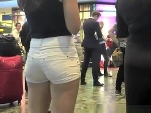 Nice ass in tight jeans shorts, Girl with nice ass