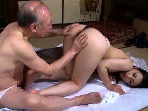 Japanese geisha goes to sauna with old man and