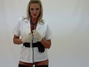 Blonde Lucy Zara masturbating in nurses outfit
