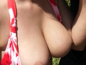 Perfect and breasty outdoor fuck