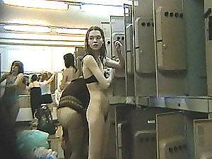 Spy camera in the ladies locker room has a lot of