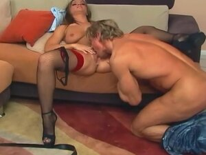 Brunette sucking and getting fucked anally in