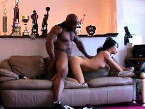 Muscular black hunk fucking a slim slut