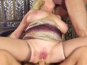 Mature Blonde Dalia Takes Two Hot Studs