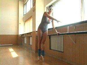 Stunning ballerina Anna Muhina practices while