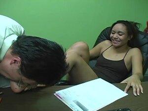 Petite Jaslin Diaz gives a footjob in an office