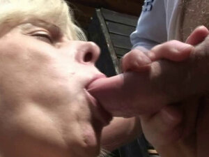 Stranger fucks busty granny in the public change