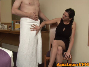 Uk CFNM babe wanking cock after pussy play