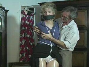Mature bondage slut with tied tits