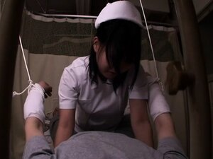 Delightful nurse gets on top of a hung patient and