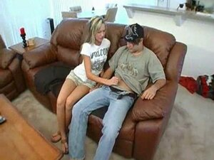 relaxed handjob on the couch