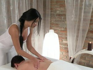 Massage Rooms Black haired beauty has her young