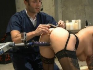 Sex slave fucked between two fuck machines by