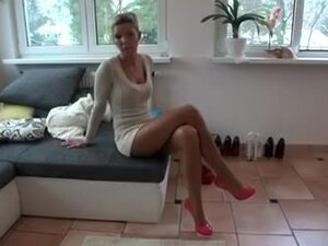 Handsome harlot shows her sexy legs in  in