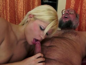 Blonde girl sucks old man's dick till he