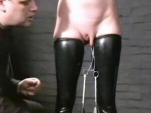 Slavegirl Cherry Torn hooded and pussy tortured in