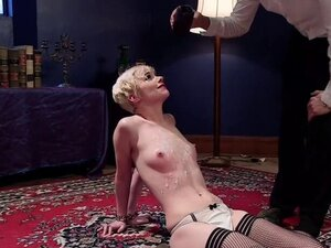 Small tits blonde waxed and anal fucked
