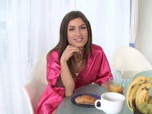 Grape beauting beauty in a satin robe prefers his