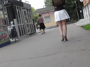 Young coquette was filmed on the upskirt hidden