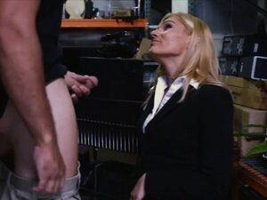 Sexy blonde milf fucked by pawn keeper in storage