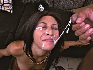 Nadia Valdez takes a monster facial blast all over