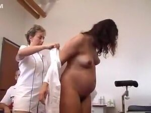 Perverted doctor inspects a pregnant woman