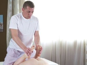 Pale blonde rides masseurs dick