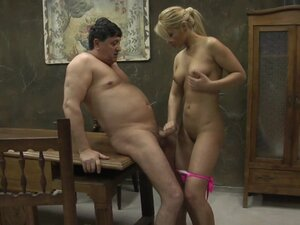 Old man having sex with a young girl in pink