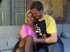 Interviewed French blonde teen undressed and
