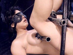 Petite Asian slut butt plugged in device