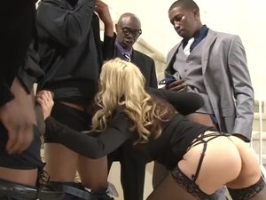 Busty MILF bitch interracial gangbang with huge
