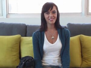 Casting couch x brunette bounces on cock