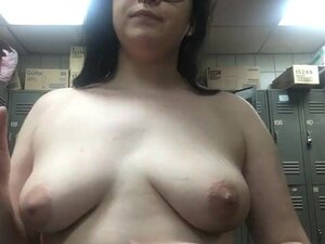 Topless smoking in the strip club dressing room