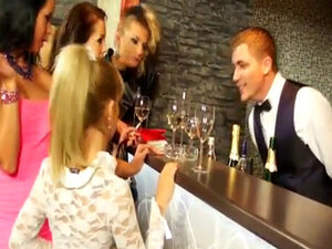 Glamour piss fetish sluts group fuck in bar