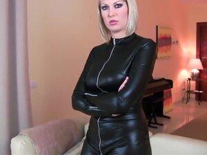 Blonde fucked in latex spandex cat suit cum on